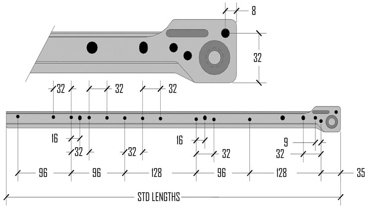 Houck Industries 950m Sidemount Drawer Slides